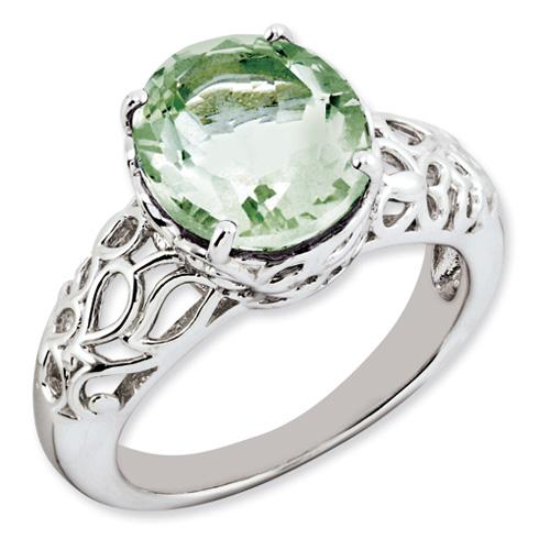 4.5 ct Sterling Silver Green Quartz Ring