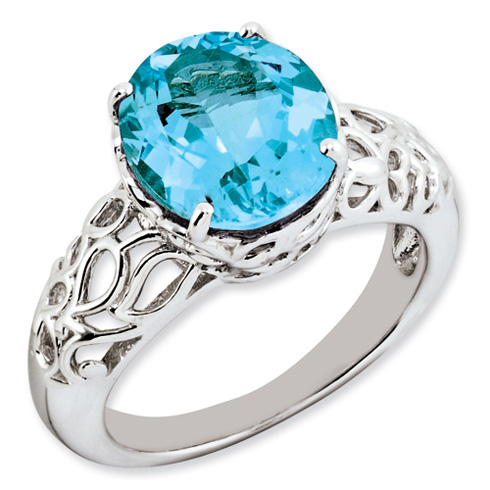 6 ct Sterling Silver Light Swiss Blue Topaz Ring