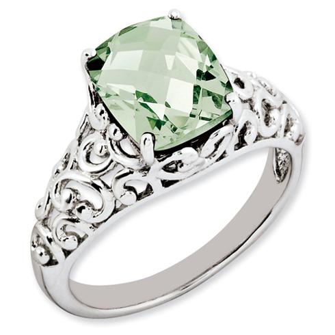 2.96 ct Sterling Silver Green Quartz Ring