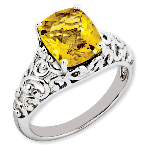 2.95 ct Sterling Silver Citrine Ring