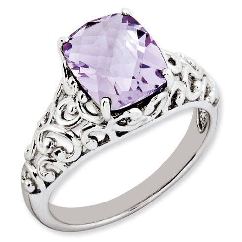 2.96 ct Sterling Silver Pink Quartz Ring