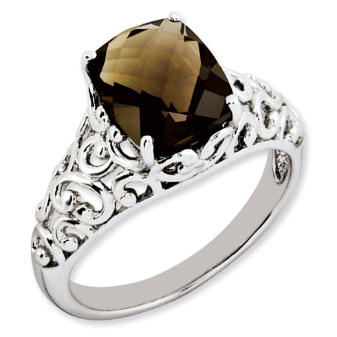 2.96 ct Sterling Silver Smokey Quartz Ring