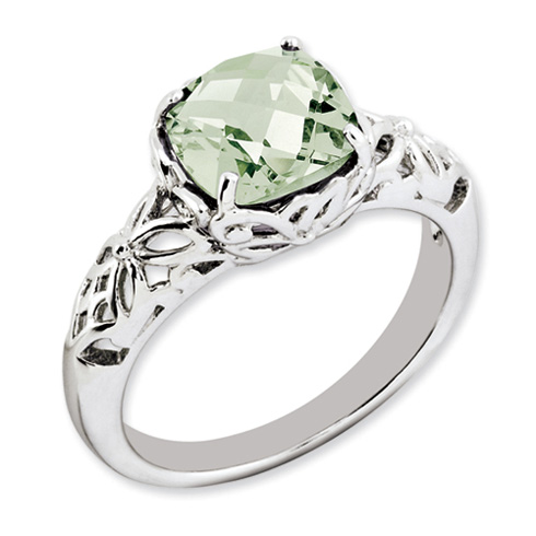2.25 ct Sterling Silver Green Quartz Ring