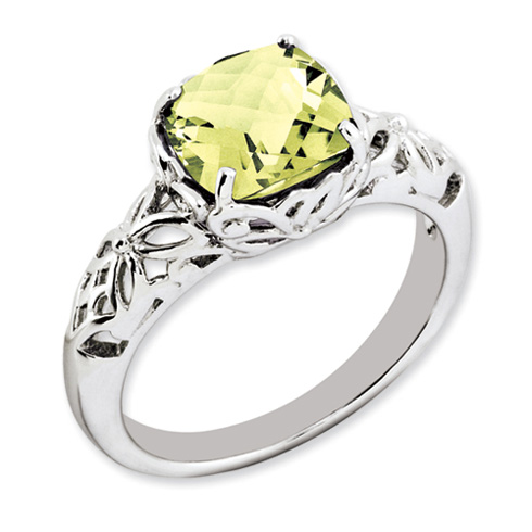 Sterling Silver 2.25 ct Cushion Cut Lemon Quartz Ring