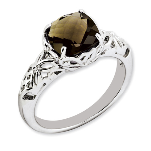 Sterling Silver 2.25 ct Smoky Quartz Floral Ring