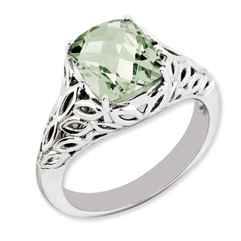 2.96 ct Sterling Silver Green Quartz Ring