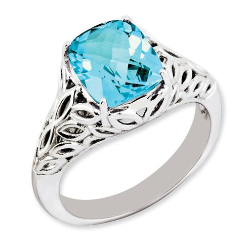 3.15 ct Sterling Silver Light Swiss Blue Topaz Ring