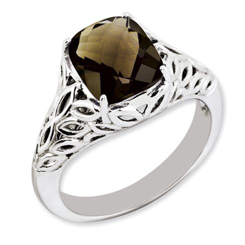 2.96 ct Sterling Silver Smokey Quartz Ring