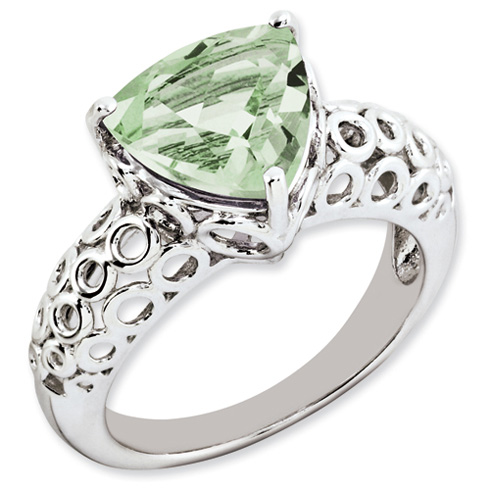 3.02 ct Sterling Silver Green Quartz Ring