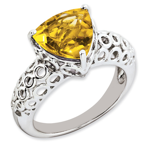 3 ct Sterling Silver Citrine Ring