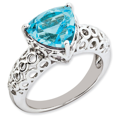4.5 ct Sterling Silver Light Swiss Blue Topaz Ring