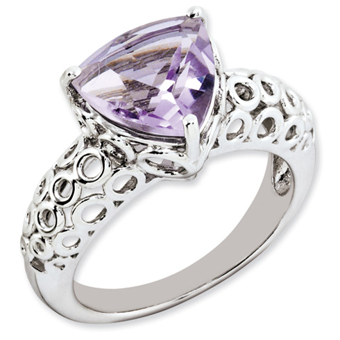 3.02 ct Sterling Silver Pink Quartz Ring