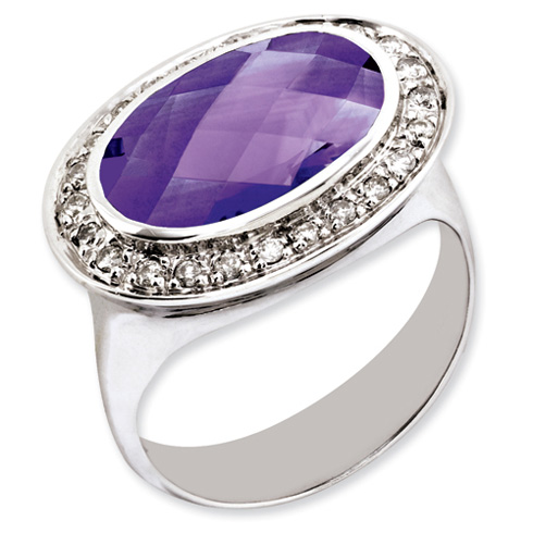 Sterling Silver 4.05 ct Oval Amethyst Ring with Diamonds