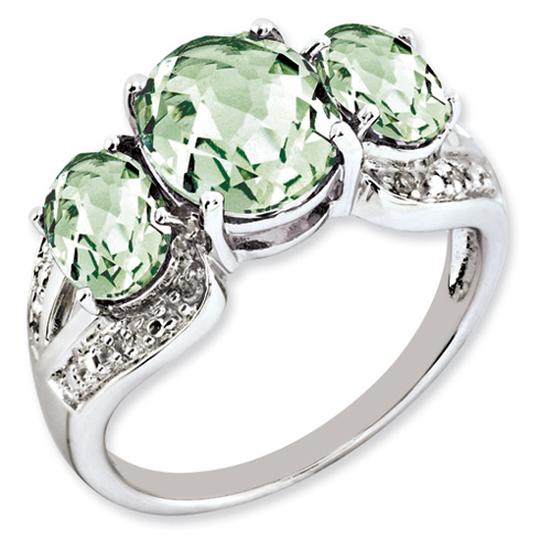 4.15 ct Sterling Silver Green Quartz and Diamond Ring