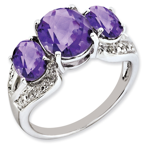 3.7 ct Sterling Silver Amethyst and Diamond Ring