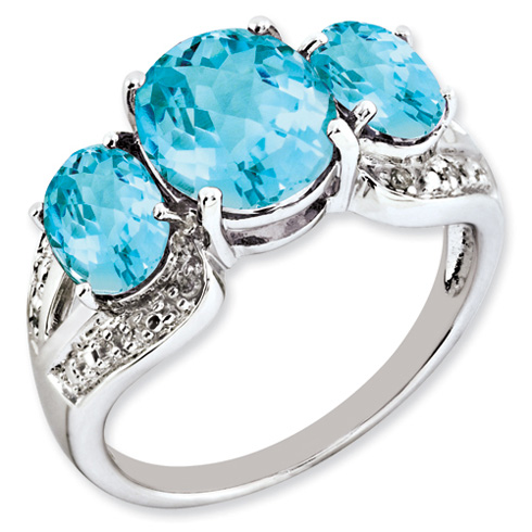 5.45 ct Sterling Silver Light Swiss Blue Topaz and Diamond Ring