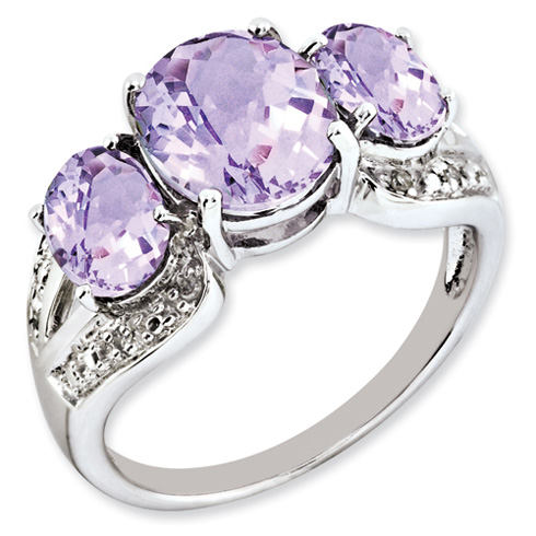 4.05 ct Sterling Silver Pink Quartz and Diamond Ring