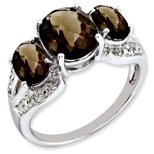 3.95 ct Sterling Silver Smokey Quartz and Diamond Ring