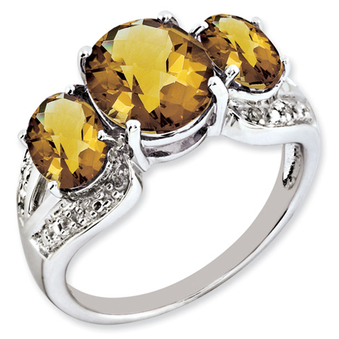 3.95 ct Sterling Silver Whiskey Quartz and Diamond Ring