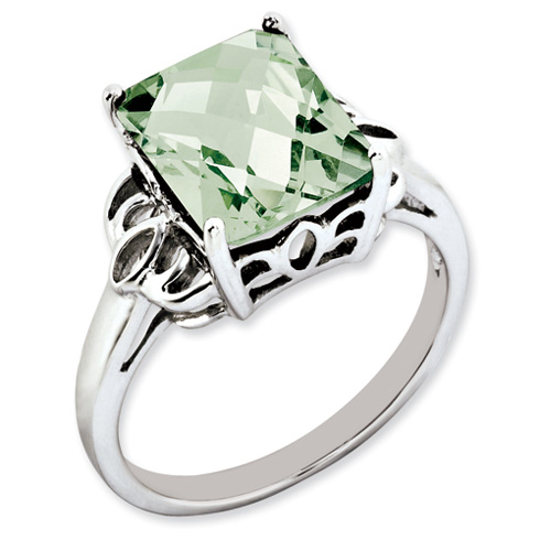 4.05 ct Sterling Silver Green Quartz Ring
