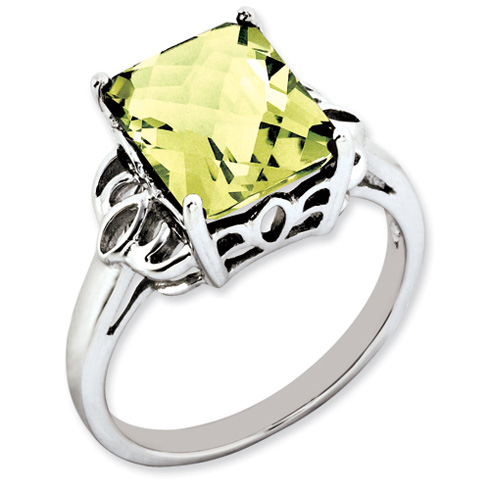 Sterling Silver 4.05 ct Lemon Quartz Ring