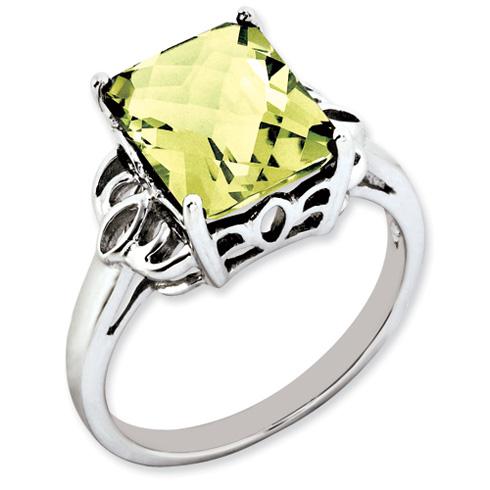4.05 ct Sterling Silver Lemon Quartz Ring
