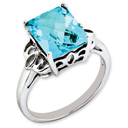 5 ct Sterling Silver Light Swiss Blue Topaz Ring