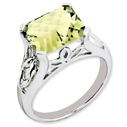 Sterling Silver 4.0 ct Lemon Quartz Ring with Floral Accents