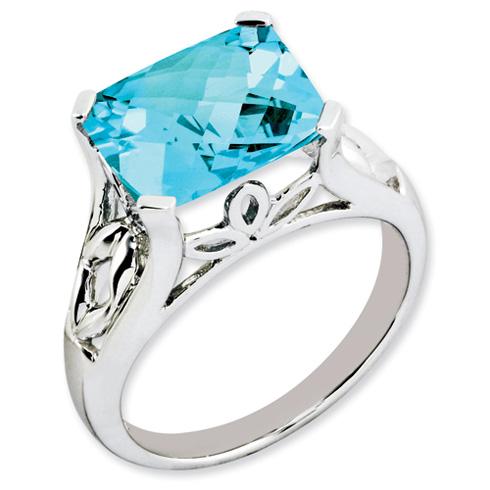 5 ct Sterling Silver Light Swiss Blue Topaz Ring