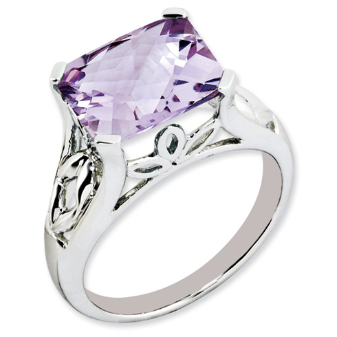 4.05 ct Sterling Silver Pink Quartz Ring