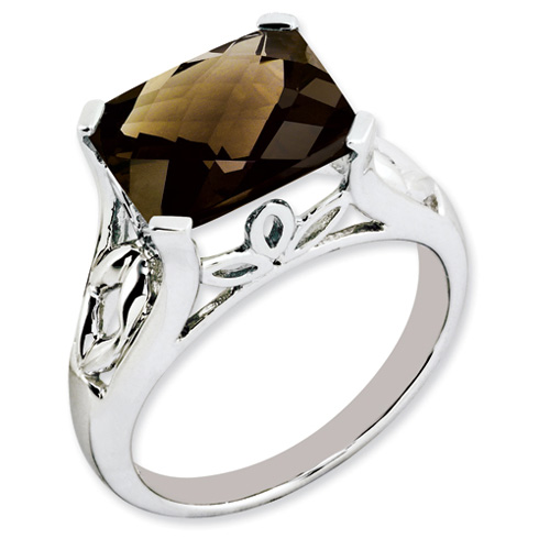 Sterling Silver 4.05 ct Smoky Quartz Ring with Floral Accents