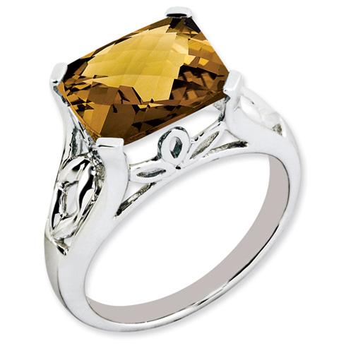 4.05 ct Sterling Silver Whiskey Quartz Ring