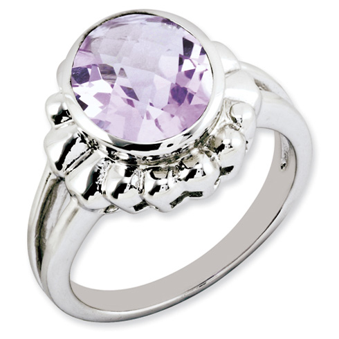 3.4 ct Sterling Silver Pink Quartz Ring