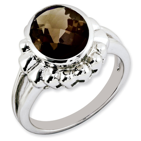 3.4 ct Sterling Silver Smokey Quartz Ring