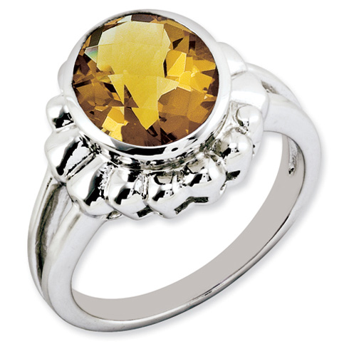 3.4 ct Sterling Silver Whiskey Quartz Ring