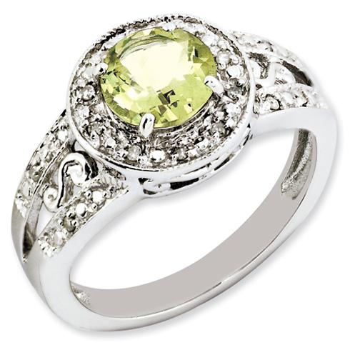Sterling Silver 1.25 ct Lemon Quartz and Diamond Ring