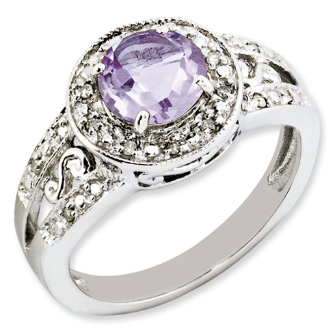1.25 ct Sterling Silver Pink Quartz and Diamond Ring