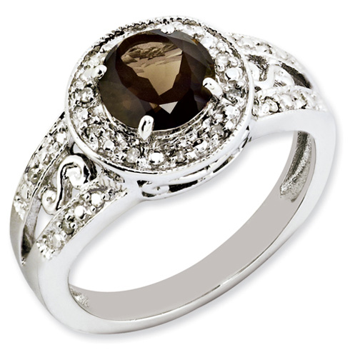 1.25 ct Sterling Silver Smokey Quartz and Diamond Ring