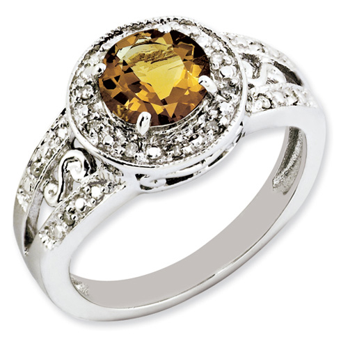 1.25 ct Sterling Silver Whiskey Quartz and Diamond Ring