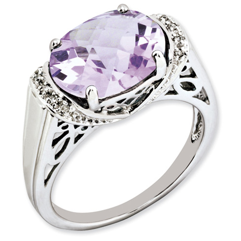 4.55 ct Sterling Silver Pink Quartz Ring