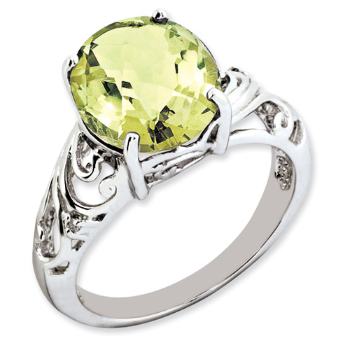 4.55 ct Sterling Silver Lemon Quartz and Diamond Ring