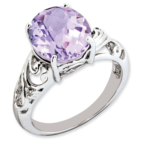 4.55 ct Sterling Silver Pink Quartz and Diamond Ring