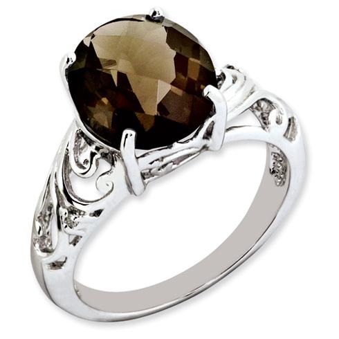 4.55 ct Sterling Silver Smokey Quartz and Diamond Ring