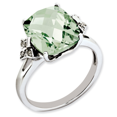 5.45 ct Sterling Silver Green Quartz and Diamond Ring