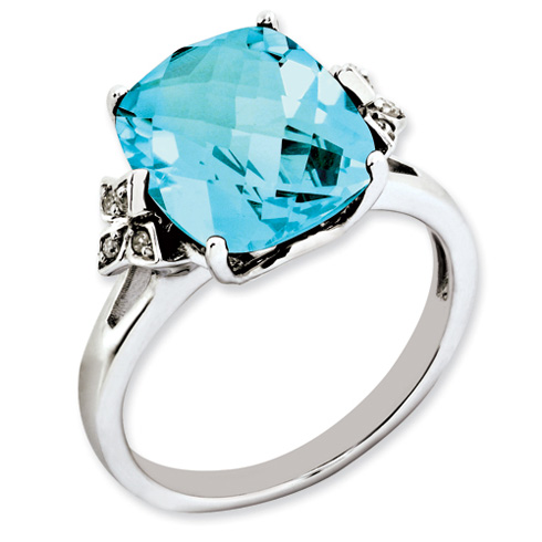 7 ct Sterling Silver Light Swiss Blue Topaz and Diamond Ring