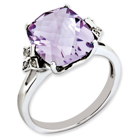 5.45 ct Sterling Silver Pink Quartz and Diamond Ring