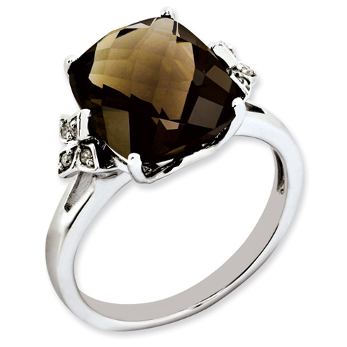 Sterling Silver 5.45 ct Smoky Quartz and Diamond Ring