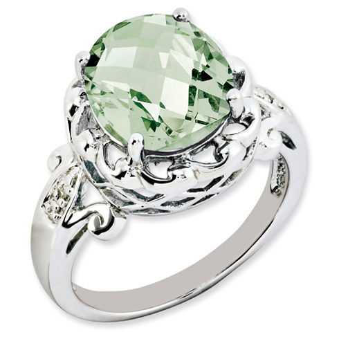 4.55 ct Sterling Silver Green Quartz and Diamond Ring