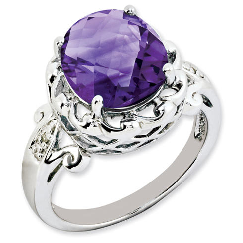 4.55 ct Sterling Silver Amethyst and Diamond Ring