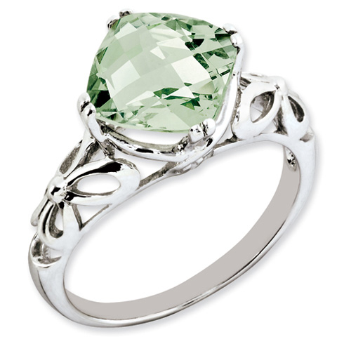 3.2 ct Sterling Silver Green Quartz Ring